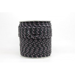 50 Metres Cordon ''BUNGEE'' tricolore base Noir 2mm