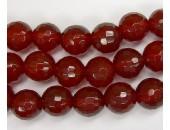 Perle facettes agate rouge 8mm - Fil de 40 Centimetres