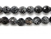 Perle Facettes Agate Noire Striee Antique Look 10mm - Fil de 40 Centimetres