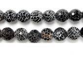 Perle facettes agate noire striee 20mm - Fil de 40 Centimetres