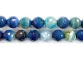 Perle facettes agate bleue striee 10mm - Fil de 40 Centimetres