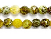 Perle Facettes Agate Lime Chauffee 08mm - Fil de 40 Centimetres