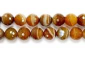 Perle Facettes Agate Marron Striee 08mm - Fil de 40 Centimetres