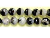 Perles facettes agate noire / quartz 16mm - Fil de 40 Centimetres