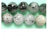 Perle facettes quartz incruste Tourmaline 10mm - Fil de 40 Centimetres