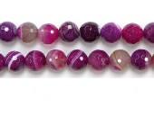 Perles facettes Agate Rose striee 08mm - Fil de 40 Centimetres