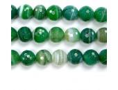 Perle facettes agate verte striee 12mm - Fil de 40 Centimetres