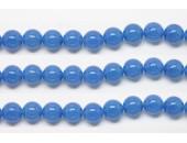 Perles en pierres agate bleue 6mm - Fil de 40 Centimetres