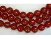 Perles en pierres agate rouge 12mm - Fil de 40 Centimetres