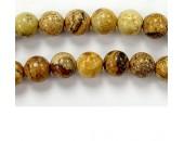 Perles en pierres jaspe picture 6mm - Fil de 40 Centimetres