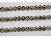 Perle pierre Jaspe dalmatien 6mm - Fil de 40 Centimetres