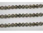 Perle pierre Jaspe dalmatien 8mm - Fil de 40 Centimetres