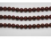 Perles en pierres obsidienne mahagony 12mm - Fil de 40 Centimetres
