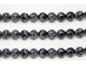Perles en pierres obsidienne snowflake 6mm - Fil de 40 Centimetres
