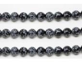Perles en pierres obsidienne snowflake 10mm - Fil de 40 Centimetres
