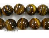 Perles en pierres oeil de tigre 12mm - Fil de 40 Centimetres