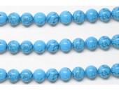 Perle pierre turquoise synthetique reconstituee 6mm - Fil de 40 Centimetres