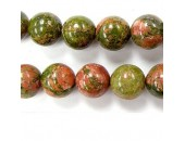 Perles en pierres unakite 12mm - Fil de 40 Centimetres
