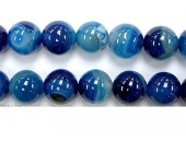 Perle agate bleue striee 12mm - Fil de 40 Centimetres