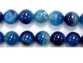 Perle agate bleue striee 14mm - Fil de 40 Centimetres