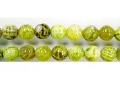 perle agate Lime chauffee 14mm - Fil de 40 Centimetres