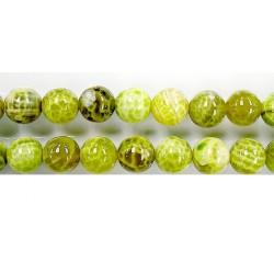 perle agate Lime chauffee 16mm - Fil de 40 Centimetres