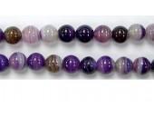 Perle agate pourpre striee 8mm - Fil de 40 Centimetres