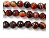 Perle agate rouge et noire 14mm - Fil de 40 Centimetres