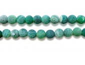 perle agate antique look verte 14mm - Fil de 40 Centimetres