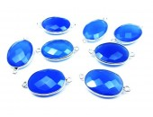 Ovale 10x8mm Calcedoine Bleue Facettes Connecteur ARGENT VERITABLE