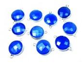 Rond 10mm Calcedoine Bleue Facettes Connecteur ARGENT VERITABLE