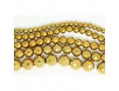 Perles Facettes Hematite Dorée 6mm
