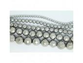 Perles Facettes Hematite Argentée 12mm