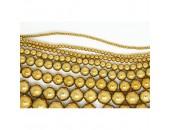 Perles en pierres hématite dorée 2mm