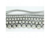 Perles en pierres hématite argentée 6mm