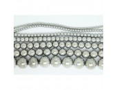 Perles en pierres hématite argentée 10mm