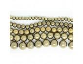 Perles en pierres hématite Couleur Pyrite 4mm