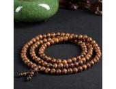 108 Perles Bois Exotique ''Tiger Sandalwood'' 6mm