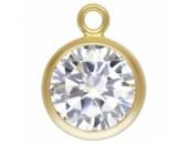 Zircon 6.0mm Crystal serti 1 Anneau 1/20 14KT Gold Filled