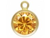 Zircon 6.0mm Champagne serti 1 Anneau 1/20 14KT Gold Filled