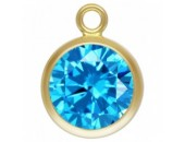 Zircon 6.0mm Bleu Aigue serti 1 Anneau 1/20 14KT Gold Filled