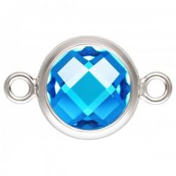 Zircon 8.0mm Bleu Aigue serti 2 Anneaux Argent Veritable