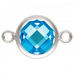 Zircon 8.0mm Bleu Suisse serti 2 Anneaux Argent Veritable