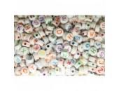 500 Lettres Melangées Acrylique Blanc / Couleurs 7x4mm ( Ø 1.7mm)