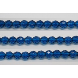 30 perles verre facettes aigue capri 8mm