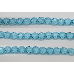 30 perles verre facettes aigue marine 14mm