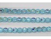 60 perles verre facettes aigue marine A/B 3mm