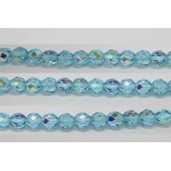 30 perles verre facettes aigue marine A/B 6mm