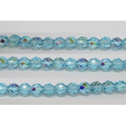 30 perles verre facettes aigue marine A/B 8mm