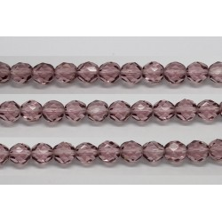 30 perles verre facettes amethyste clair 8mm